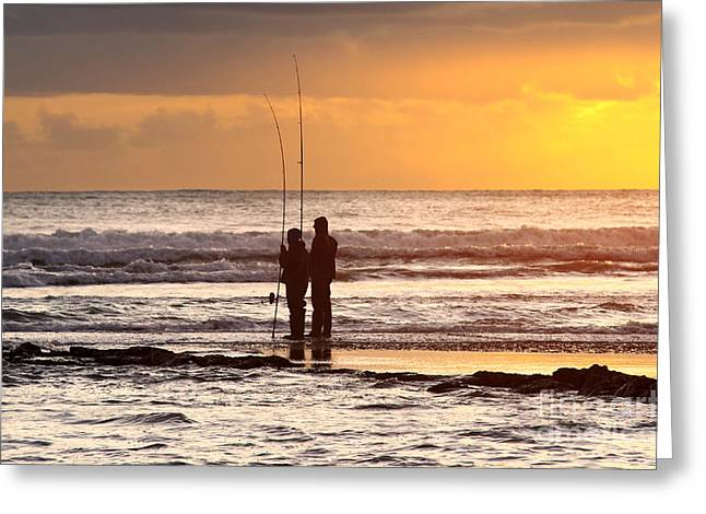 Two Fisherman Greeting Card by Carlos Caetano