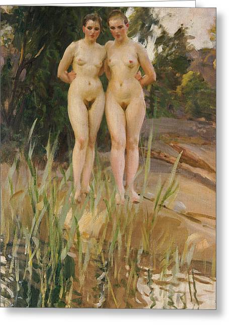 Woman Nude Greeting Cards - Two Friends  Greeting Card by Anders Leonard Zorn