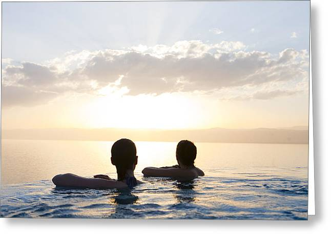 Serene People Greeting Cards - Two Friends Enjoy The Sunset Greeting Card by Taylor S. Kennedy