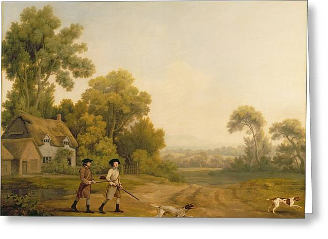 Spaniel Greeting Cards - Two Gentlemen Going a Shooting Greeting Card by George Stubbs