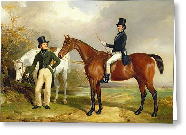 Crops Paintings Greeting Cards - Two Gentlemen Out Hunting  Greeting Card by Henry Barraud