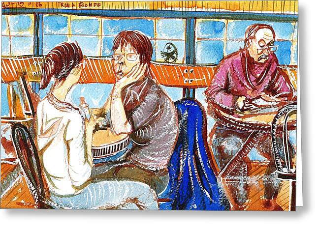Fast Food Drawings Greeting Cards - Two Girls and an Old Man Greeting Card by Ion vincent DAnu