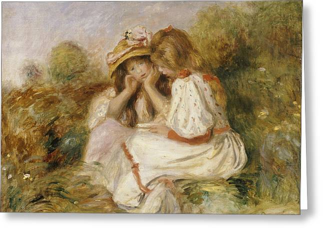 Hand On Face Greeting Cards - Two Girls Greeting Card by Pierre Auguste Renoir