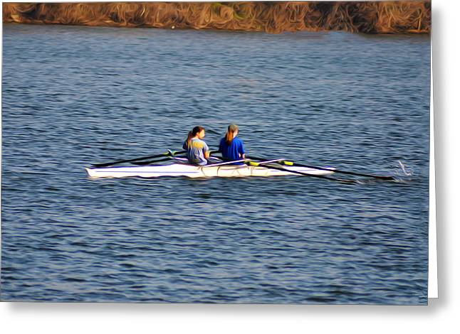 Rowing Crew Greeting Cards - Two Girls Rowing Greeting Card by Bill Cannon