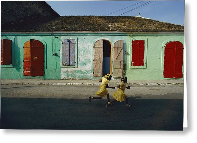 Shyness Greeting Cards - Two Girls Run From The Photographer Greeting Card by James P. Blair