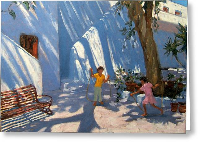 Park Benches Paintings Greeting Cards - Two Girls Skipping Mykonos Greeting Card by Andrew Macara