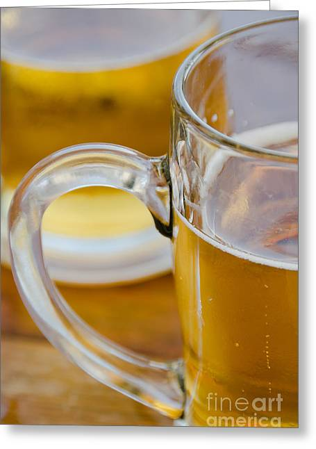 Sardinelly Greeting Cards - Two glasses of Beer Greeting Card by Yurix Sardinelly