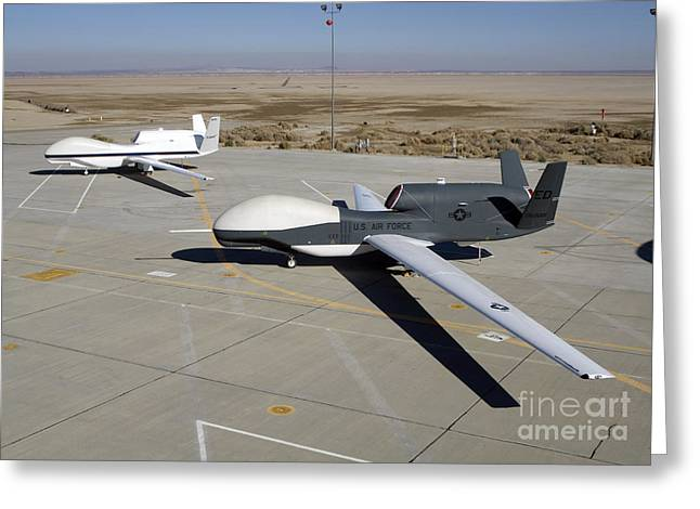 Two Tailed Photographs Greeting Cards - Two Global Hawks Parked On A Ramp Greeting Card by Stocktrek Images