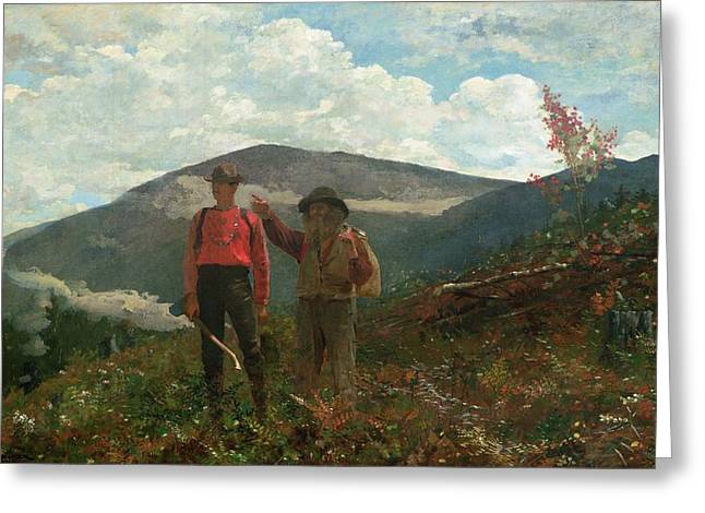 Two By Two Greeting Cards - Two Guides Greeting Card by Winslow Homer