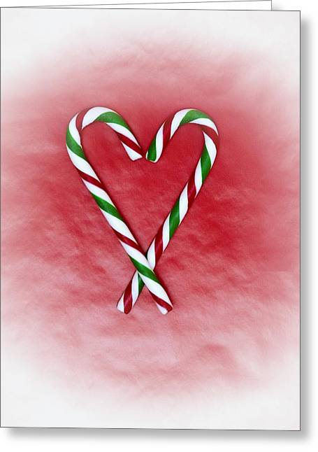 Bonbon Greeting Cards - Two Heart Shaped Candy Canes Greeting Card by Carson Ganci