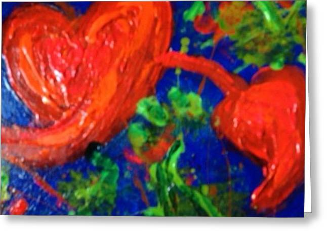 Two Hearts Greeting Card by Annette McElhiney