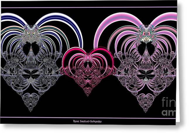 Two Hearts That Beat As One Fractal 80 Greeting Card by Rose Santuci-Sofranko