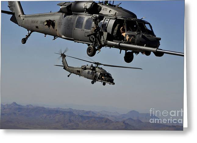 Sikorsky Photographs Greeting Cards - Two Hh-60 Pave Hawk Helicopters Prepare Greeting Card by Stocktrek Images