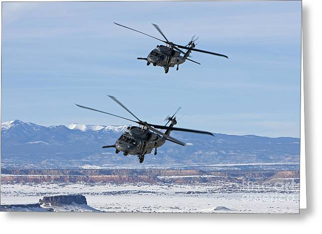 Sikorsky Photographs Greeting Cards - Two Hh-60g Pave Hawks Fly In Formation Greeting Card by HIGH-G Productions