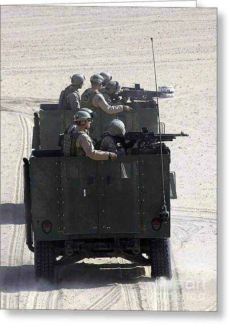 General Purpose Machine Guns Greeting Cards - Two Highback Humvees Filled Greeting Card by Stocktrek Images