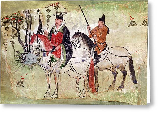 7th Century Greeting Cards - Two Horsemen in a Landscape Greeting Card by Chinese School