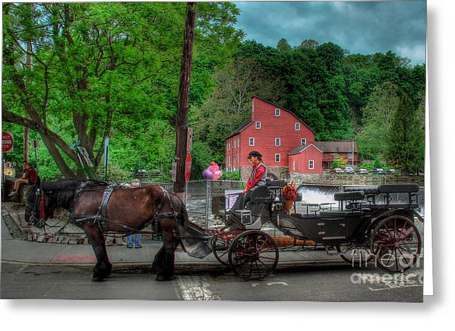 Red Mill Historic Village Greeting Cards - Two Horses and a Carriage  Greeting Card by Lee Dos Santos
