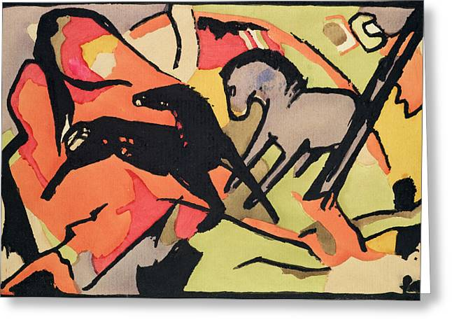 Expressionist Horse Greeting Cards - Two Horses Greeting Card by Franz Marc