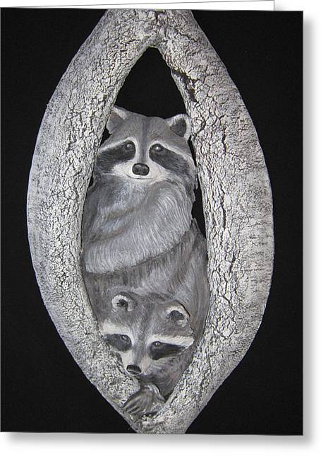 Rustic Sculptures Greeting Cards - Two in a Tree Greeting Card by Janet Knocke