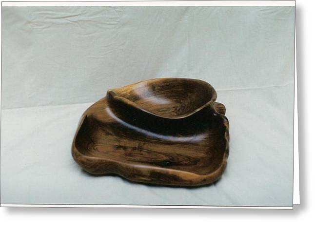 Wood Art Sculptures Greeting Cards - Two in one bowl Greeting Card by Lionel Larkin