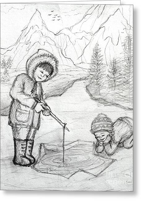 Fishing Rods Drawings Greeting Cards - Two Inuit Children Fishing on Ice Greeting Card by Evelyn Sichrovsky