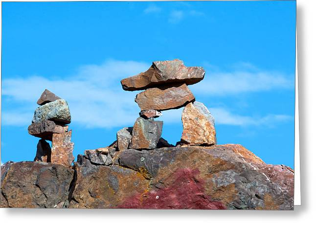 Native Stone Greeting Cards - Two inukshuk Greeting Card by Ivan SABO