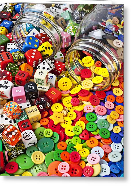 Jars Greeting Cards - Two jars dice and buttons Greeting Card by Garry Gay