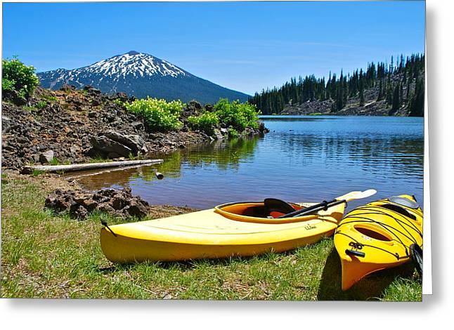 Mt. Bachelor Greeting Cards - Two Kayaks Greeting Card by Dorota Nowak