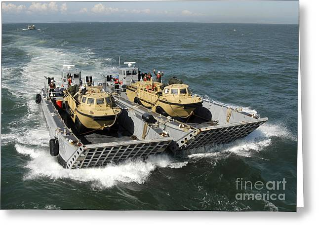 Landing Craft Greeting Cards - Two Landing Craft Mechanized Boats Greeting Card by Stocktrek Images