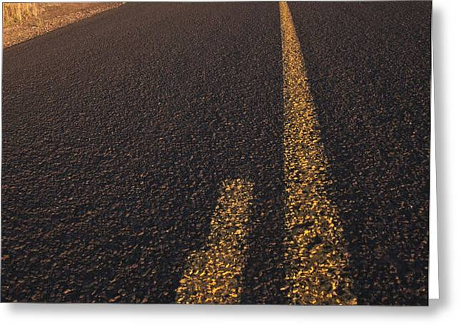 Two Lane Road Between Fields Greeting Card by Jetta Productions, Inc