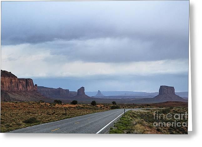 Scrub Brush Greeting Cards - Two Lane Road Passing Through Desert Greeting Card by Ned Frisk