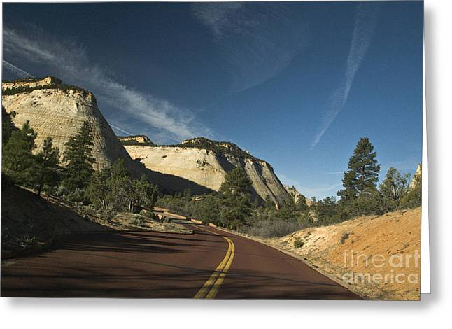 Yellow Line Greeting Cards - Two Lane Road Through Mountain Pass Greeting Card by Ned Frisk