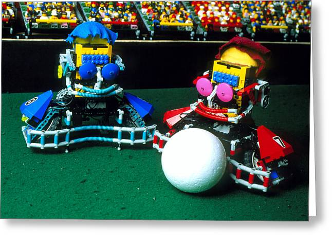 Lego Greeting Cards - Two Lego Footballers With A Ball At Robocup-98 Greeting Card by Volker Steger