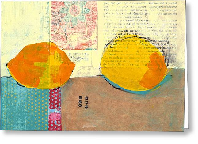 Lemon Greeting Cards - Two Lemons Greeting Card by Laurie Breen