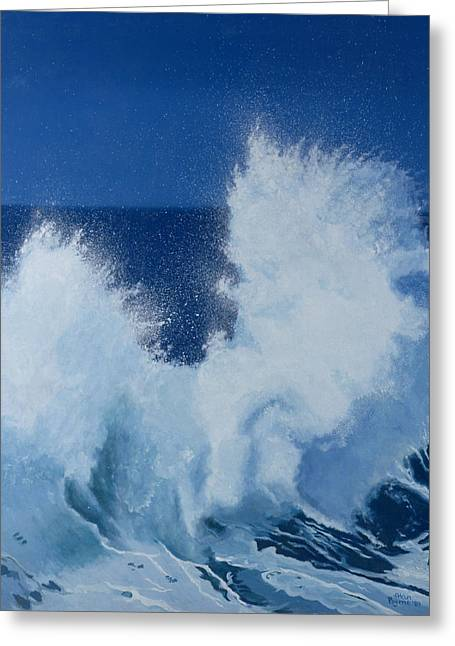 Wave Pattern Greeting Cards - Two Little Waves Breaking Greeting Card by Alan Byrne
