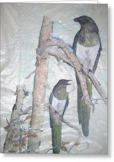 Magpies. Snow Greeting Cards - Two Magpies Sitting In A Tree Greeting Card by Debbi Chan