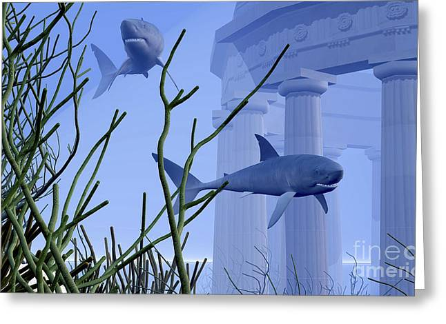 Ancient Ruins Digital Art Greeting Cards - Two Mako Sharks Swim By An Underwater Greeting Card by Corey Ford