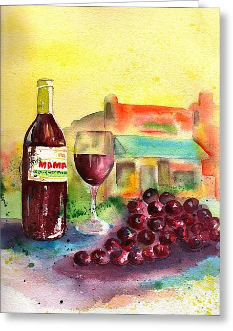 Clusters Of Grapes Paintings Greeting Cards - Two Mamas Gourmet Pizza Greeting Card by Sharon Mick