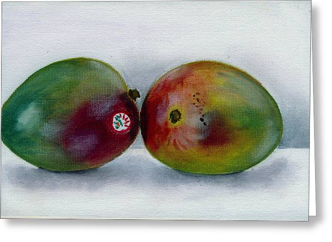 Mango Paintings Greeting Cards - Two Mangoes Greeting Card by Sarah Lynch