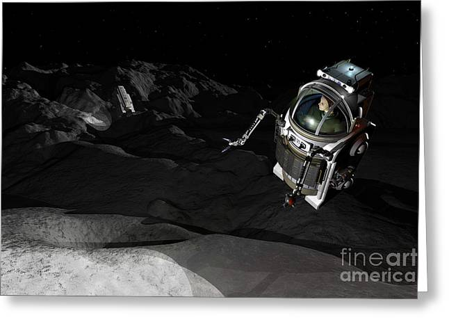 Destiny Greeting Cards - Two Manned Maneuvering Vehicles Explore Greeting Card by Walter Myers