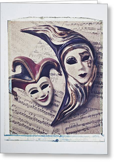 Transfer Greeting Cards - Two masks on sheet music Greeting Card by Garry Gay