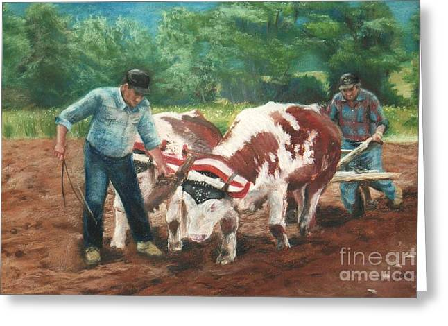 Farming Pastels Greeting Cards - two men and oxen -SOLD Greeting Card by Lisa Pope