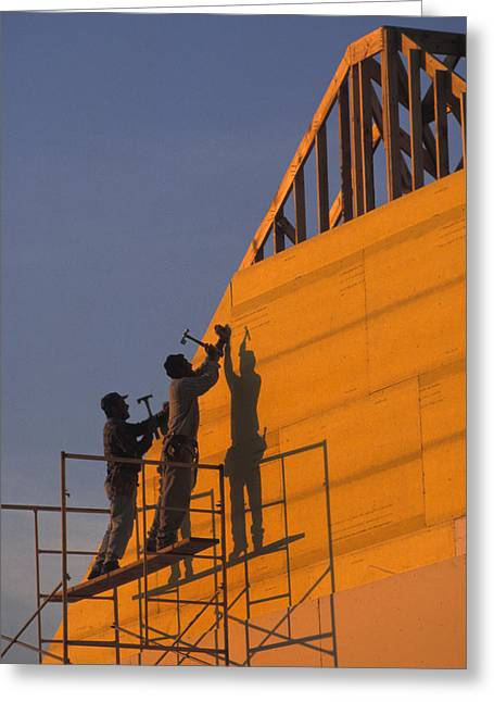 Yellow Hammer Greeting Cards - Two Men Build A New Towhouse Greeting Card by Richard Nowitz