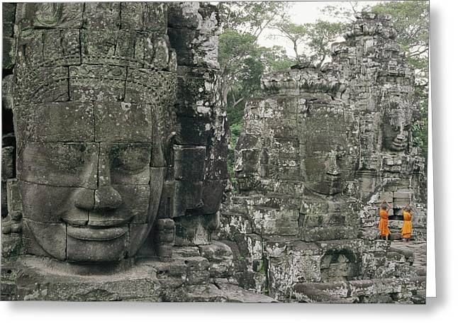 Wat Angkor Greeting Cards - Two Monks In Orange Robes Stand Greeting Card by Paul Chesley