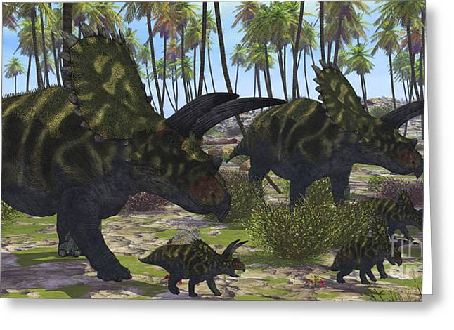 Caring Mother Digital Greeting Cards - Two Mother Coahuilaceratops Escort Greeting Card by Corey Ford