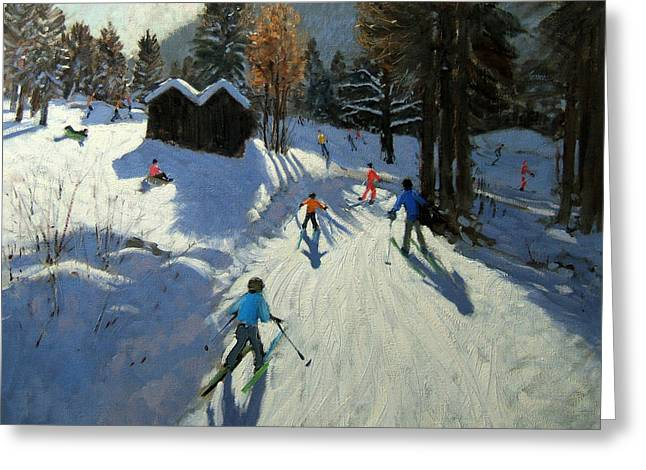 Tobogganing Greeting Cards - Two mountain huts Greeting Card by Andrew Macara