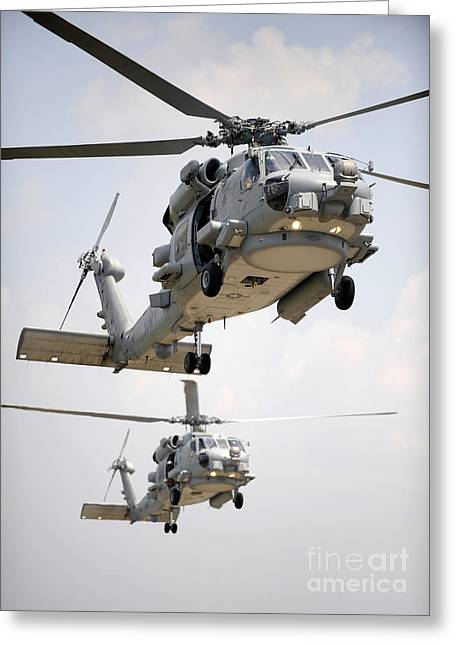 Rotorcraft Greeting Cards - Two Multi-mission Mh-60r Sea Hawk Greeting Card by Stocktrek Images