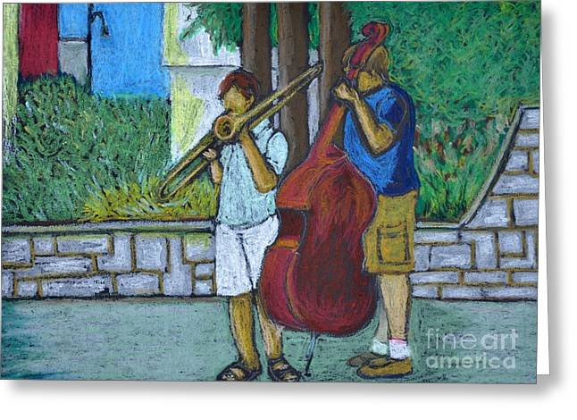 Streets Pastels Greeting Cards - Two Musicians Greeting Card by Reb Frost