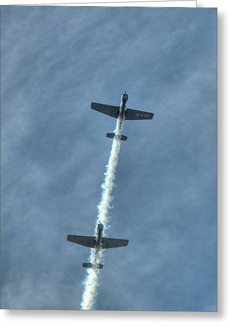Cj6 Greeting Cards - Two Nanchang CJ6 fighter planes in formation Greeting Card by Chris Day