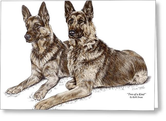 Guard Dog Greeting Cards - Two of a Kind - German Shepherd Dogs Print color tinted Greeting Card by Kelli Swan